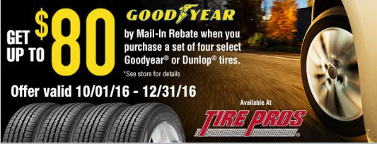 GoodYear Tire Pros $80.00 Off